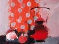 червоний чайник 80x70см